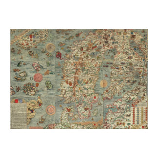 Carta Marina - Ancient Creatures Map of the World Gallery Wrap Canvas
