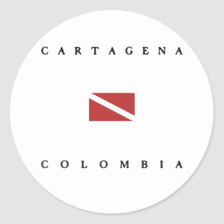 Cartagena Colombia Scuba Dive Flag Classic Round Sticker