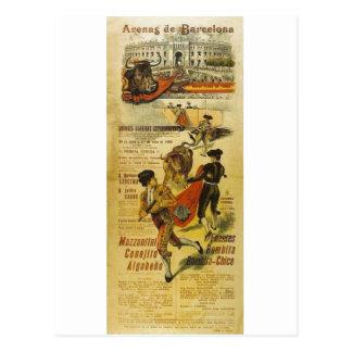 Cartel Toros Barcelona - Bullfighting Matador Postcard