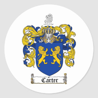 CARTER FAMILY CREST -  CARTER COAT OF ARMS CLASSIC ROUND STICKER