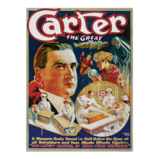 Carter The Great ~ The Saw Vintage Magic Act Poster