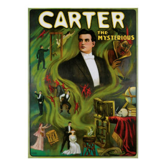 Carter The Mysterious ~  Vintage Magic Act Poster