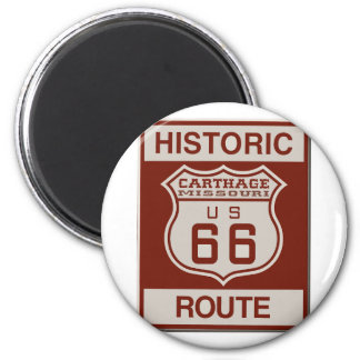 Carthage Route 66 6 Cm Round Magnet