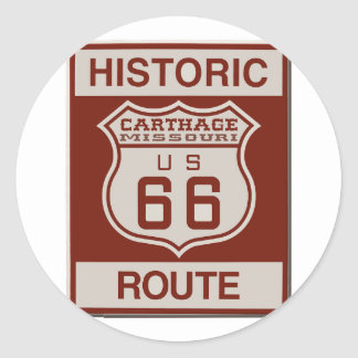 Carthage Route 66 Classic Round Sticker