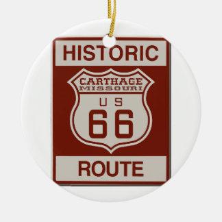 Carthage Route 66 Round Ceramic Decoration