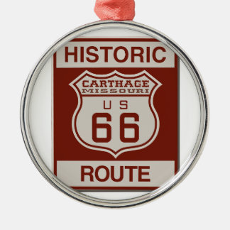 Carthage Route 66 Silver-Colored Round Decoration