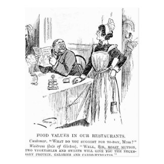 Cartoon about an educated waitress postcard