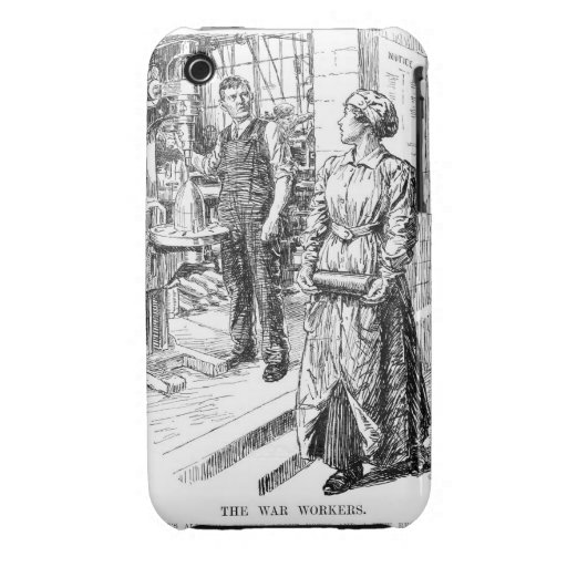 Cartoon about woman workers during World War I Case-Mate iPhone 3 Cases