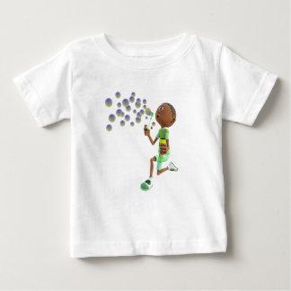 Cartoon African American Boy Blowing Bubbles Baby T-Shirt