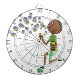 Cartoon African American Boy Blowing Bubbles Dartboard