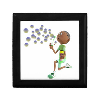Cartoon African American Boy Blowing Bubbles Gift Box