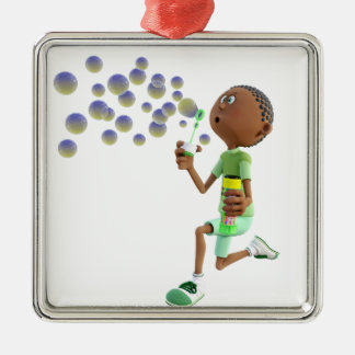 Cartoon African American Boy Blowing Bubbles Metal Ornament