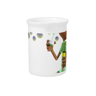 Cartoon African American Boy Blowing Bubbles Pitcher