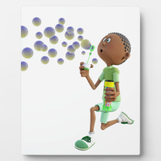 Cartoon African American Boy Blowing Bubbles Plaque