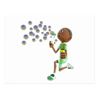 Cartoon African American Boy Blowing Bubbles Postcard
