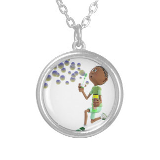 Cartoon African American Boy Blowing Bubbles Silver Plated Necklace