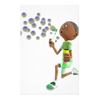 Cartoon African American Boy Blowing Bubbles Stationery