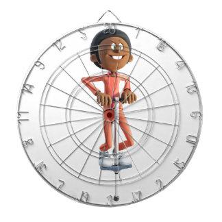Cartoon African American Boy Using A Pogo Stick Dartboard