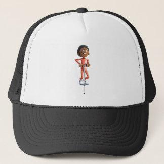 Cartoon African American Boy Using A Pogo Stick Trucker Hat