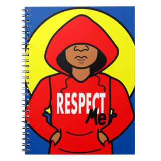 Cartoon African American Boy Wearing Hoodie Spiral Note Book