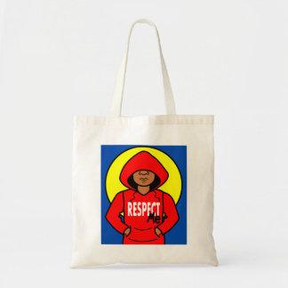 Cartoon African American Boy wearing Red Hoodie Budget Tote Bag