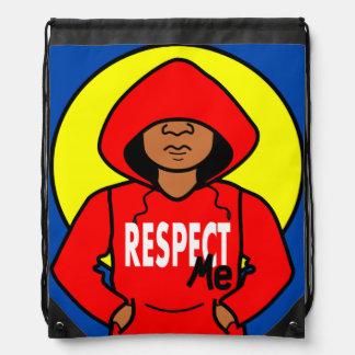 Cartoon African American Boy Wearing Red Hoodie Rucksacks