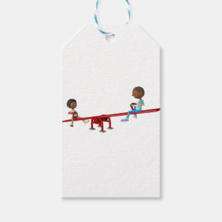 Cartoon African American Children on a See Saw