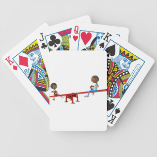Cartoon African American Children on a See Saw Bicycle Playing Cards