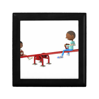 Cartoon African American Children on a See Saw Gift Box