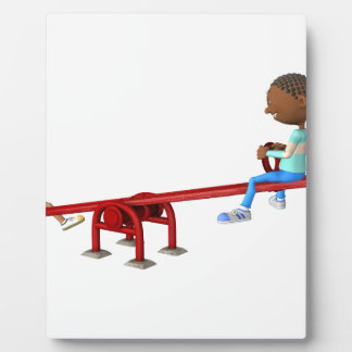 Cartoon African American Children on a See Saw Plaque