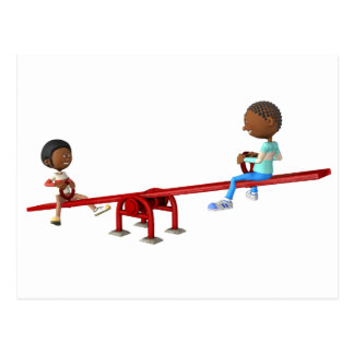 Cartoon African American Children on a See Saw Postcard