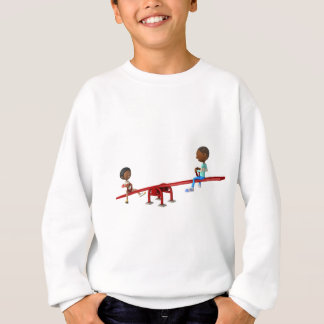 Cartoon African American Children on a See Saw Sweatshirt