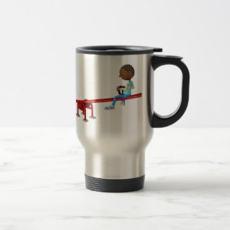 Cartoon African American Children on a See Saw Travel Mug