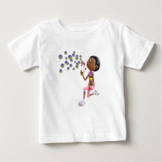 Cartoon African American Girl Blowing Bubbles Baby T-Shirt