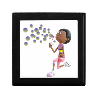 Cartoon African American Girl Blowing Bubbles Gift Box