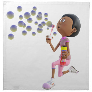 Cartoon African American Girl Blowing Bubbles Napkin