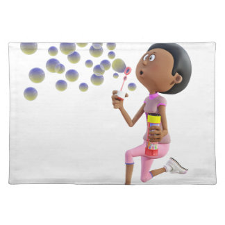 Cartoon African American Girl Blowing Bubbles Placemat
