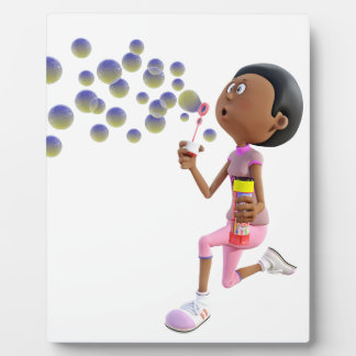 Cartoon African American Girl Blowing Bubbles Plaque