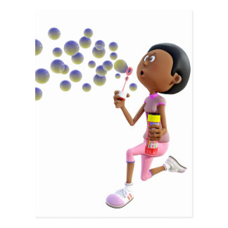 Cartoon African American Girl Blowing Bubbles Postcard
