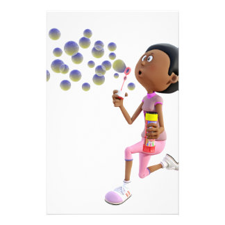 Cartoon African American Girl Blowing Bubbles Stationery