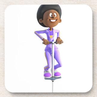 Cartoon African American Girl riding a Pogo Stick Coaster