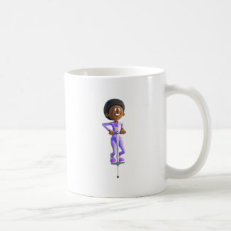 Cartoon African American Girl riding a Pogo Stick Coffee Mug