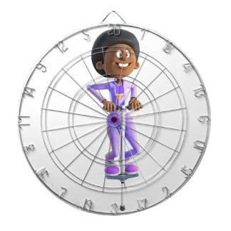 Cartoon African American Girl riding a Pogo Stick Dartboard