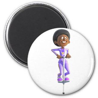 Cartoon African American Girl riding a Pogo Stick Magnet