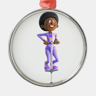 Cartoon African American Girl riding a Pogo Stick Metal Ornament
