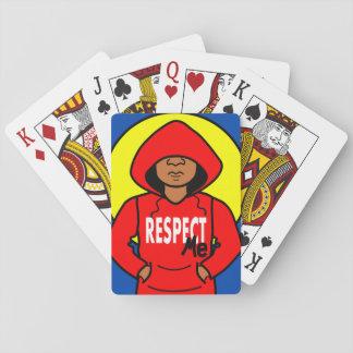Cartoon African American Kid Wearing Hoodie Deck Of Cards