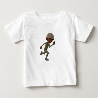 Cartoon African American Soldier Running Baby T-Shirt