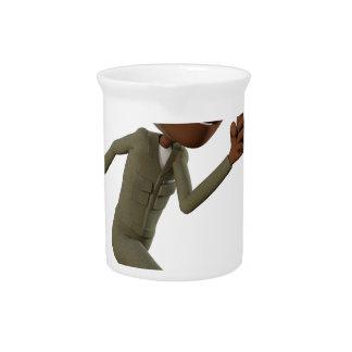 Cartoon African American Soldier Running Beverage Pitchers