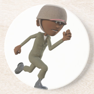 Cartoon African American Soldier Running Coaster