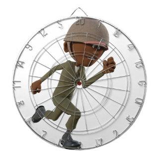 Cartoon African American Soldier Running Dartboard